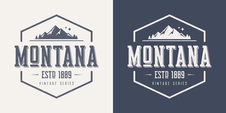 Montana state textured vintage vector t-shirt and apparel design Illustration