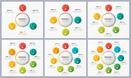 Set of circle chart templates with 3 4 5 6 7 8 options. Global s Illustration