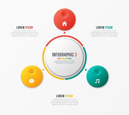 Circle chart template with 3 options. Vector design for infograp Banque d'images - 97552657