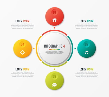Circle chart template with 4 options. Vector design for infograp Banque d'images - 97509840