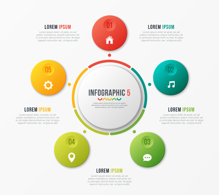 Circle chart template with 5 options. Vector design for infograp