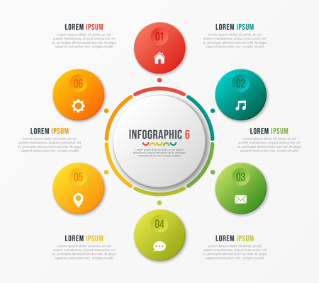 Circle chart template with 6 options. Vector design for infograp