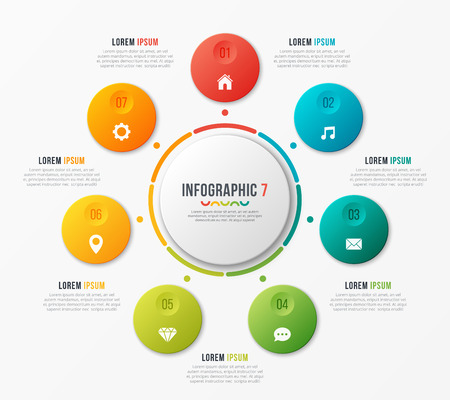 Circle chart template with 7 options. Vector design for infograp 向量圖像