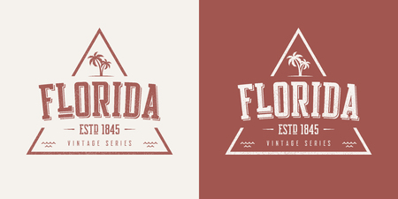 Florida state textured vintage vector t-shirt and apparel design. Stock Illustratie