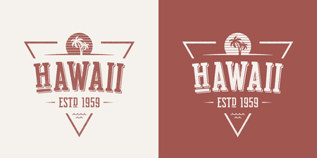 Hawaii state textured vintage vector t-shirt and apparel design with palm trees