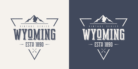 Wyoming state textured vintage vector t-shirt and apparel design with mountain  イラスト・ベクター素材