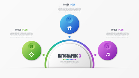 Circle chart template with 3 options. Vector design