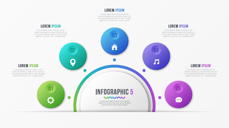 Circle chart template with 5 options. Vector design for illustration