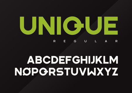 Unique vector bold industrial typeface design, uppercase letters