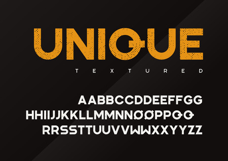 Unique vector grunge textured industrial display typeface 向量圖像