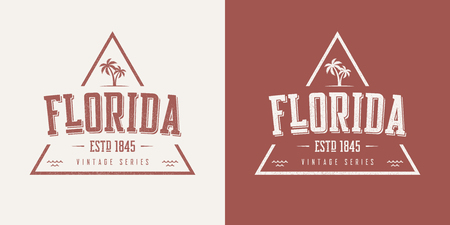 Florida state textured vintage vector t-shirt and apparel design  イラスト・ベクター素材