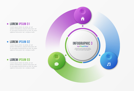 Rotating circle chart template with 3 options Vector design isolated on plain background.