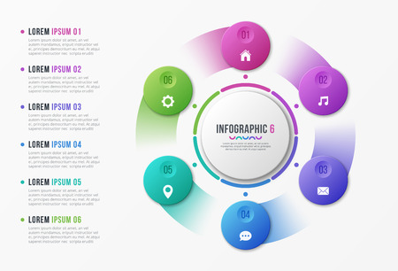Rotating circle chart template with 6 options. Vector design for