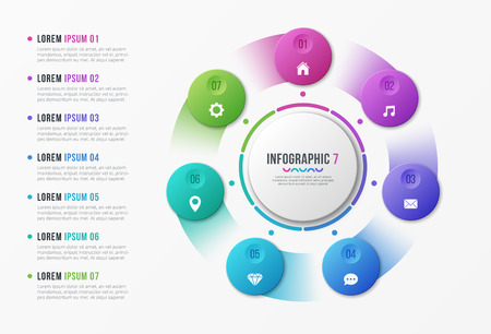 Rotating circle chart template with 7 options Vector design isolated on plain background. Vectores