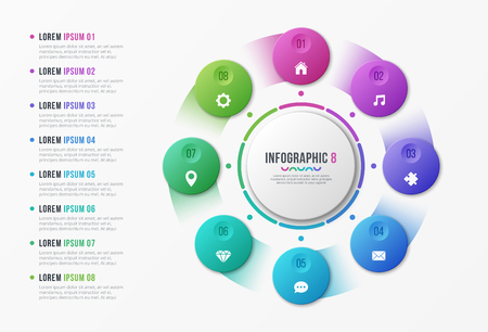 Rotating circle chart template with 8 options Vector design isolated on plain background. Illustration