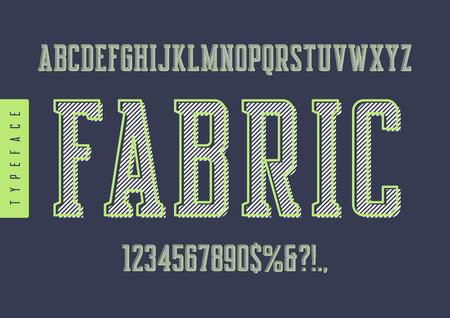 ファブリックベクトルは、明るい緑色のアウトラインを持つレトロな書体、大文字と数字を凝縮しました。