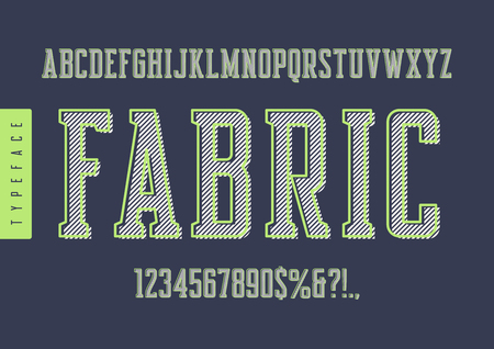 Fabric vector condensed retro typeface, uppercase letters and numbers with light green outline.