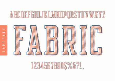 Fabric vector condensed retro typeface, uppercase letters and number isolated on plain background.