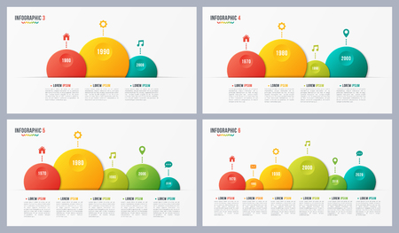 Paper style vector bubble shaped timeline charts with 3 4 5 6 step.