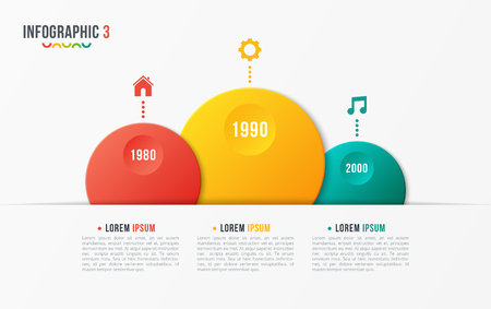 Paper style vector bubble shaped timeline chart with 3 steps. Ilustrace