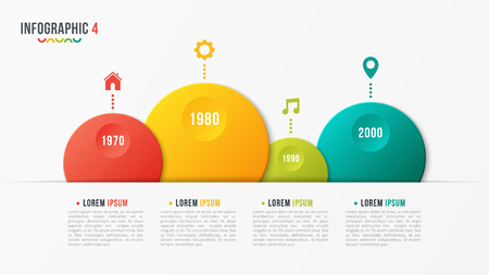Paper style vector bubble shaped timeline chart with 4 steps.