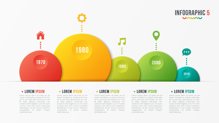 Paper style vector bubble shaped timeline chart with 5 steps.