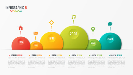 Paper style vector bubble shaped timeline chart with 6 steps.