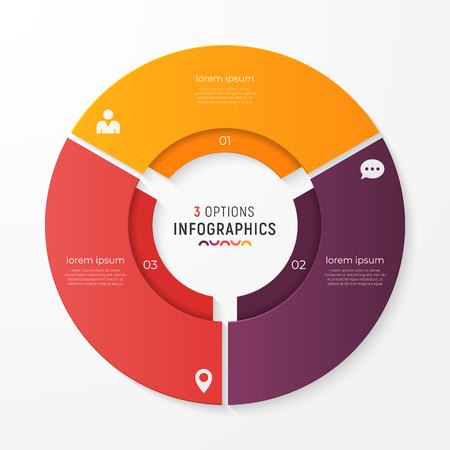 Circle chart template with 3 options vector design for infograph.