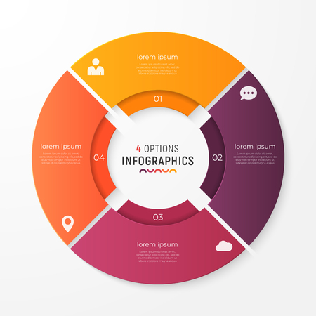 Circle chart template with 4 options vector design for infograph.