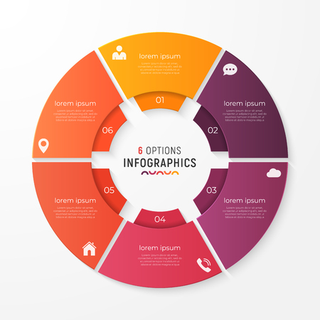 Circle chart template with 6 options vector design for infograph.