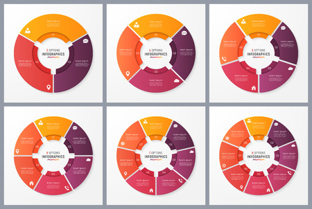 Circle chart templates with 3 4 5 6 7 8 options vector design.