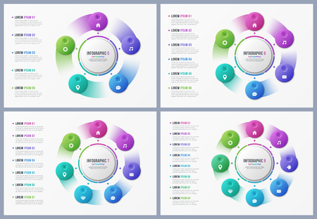 Rotating circle chart templates with 5 6 7 8 options. Banque d'images - 98960605