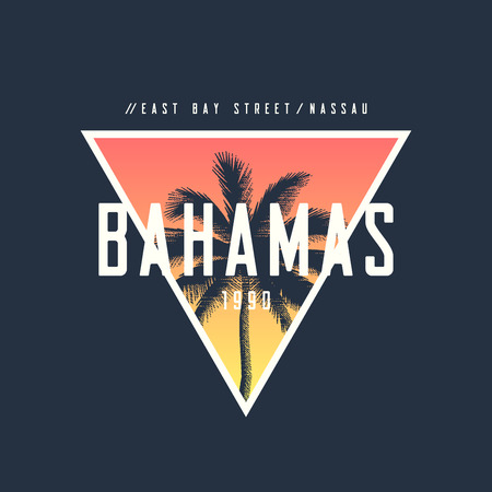 Bahamas Nassau t-shirt and apparel design with rough palm tree.