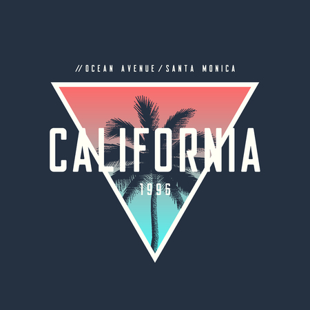California ocean avenue t-shirt and apparel design with rough palm tree. Vectores