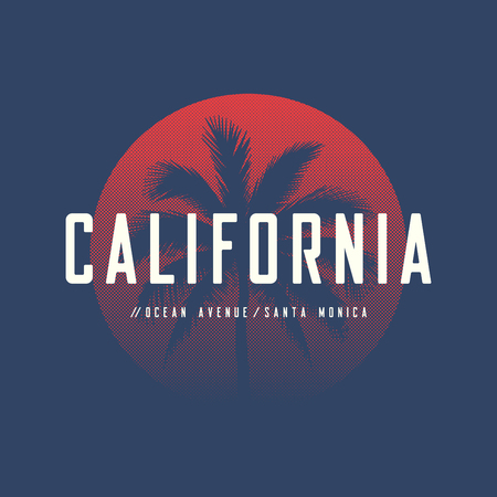 California ocean avenue t-shirt and apparel design with palm tree. 일러스트