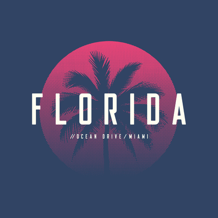 Miami ocean drive t-shirt and apparel design with palm tree.