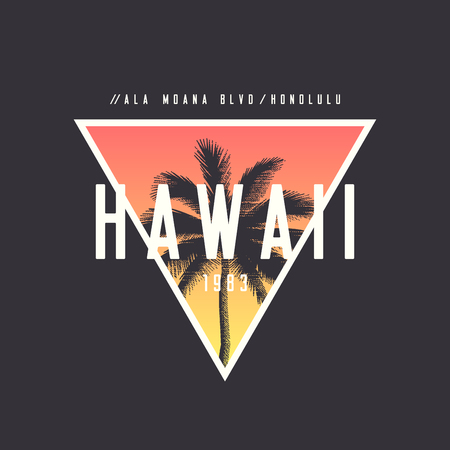 Hawaii Honolulu t-shirt and apparel design with rough palm tree.  イラスト・ベクター素材