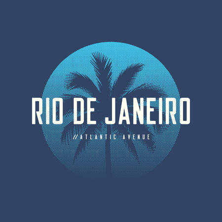 Rio de Janeiro Atlantic avenue t-shirt and apparel design with palm tree.