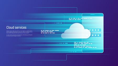 Cloud services, remote data storage vector concept. Global. Vectores