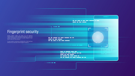 Fingerprint security, access control, authorization and identification vector concept. Global swatches. Illustration