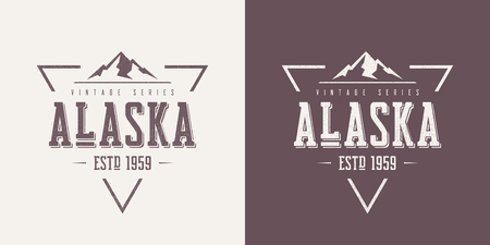 Alaska state textured vintage vector t-shirt and apparel design, typography, print, logo, poster. Global swatches. 矢量图像