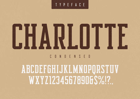 Charlotte vector condensed retro typeface, uppercase letters and Banco de Imagens - 99866998
