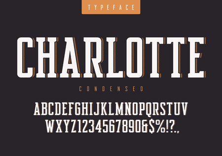 Charlotte vector condensed retro typeface, uppercase letters and Banco de Imagens - 99867000