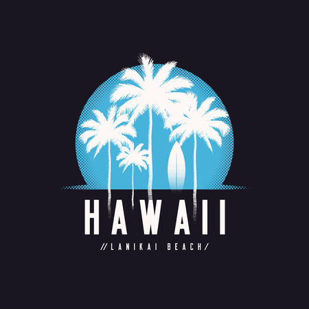 Hawaii Lanikai beach tee print with palm trees, t shirt design,