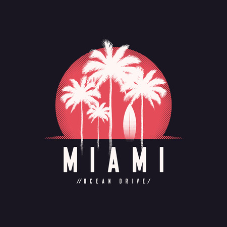 Miami Ocean Drive tee print with palm trees, t shirt design, typ
