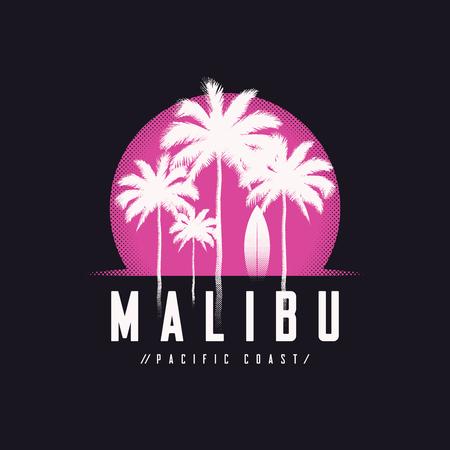 Malibu Pacific Coast tee print with palm trees, t shirt design, 일러스트