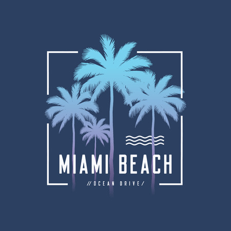 Miami beach Ocean Drive tee print with palm trees, t shirt desig