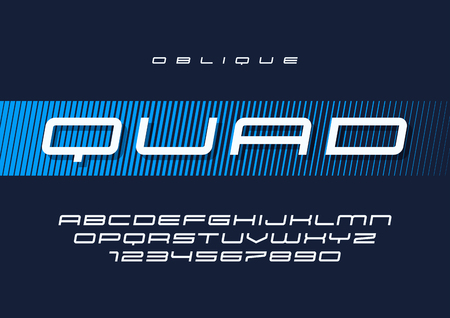 Quad vector oblique futuristic sports typeface, uppercase letters and numbers, alphabet, font, typography. Global swatches.