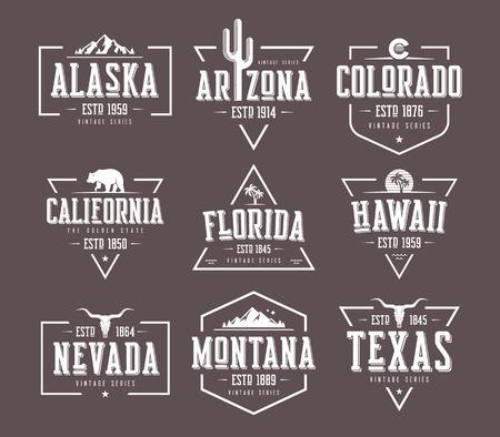 Conjunto de diseños de camiseta y ropa de vector vintage de Estados Unidos, insignias, tipografía, estampados. Muestras globales. Ilustración de vector