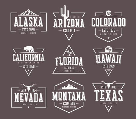 Set of US states vintage vector t-shirt and apparel designs, badges, typography, prints. Global swatches.